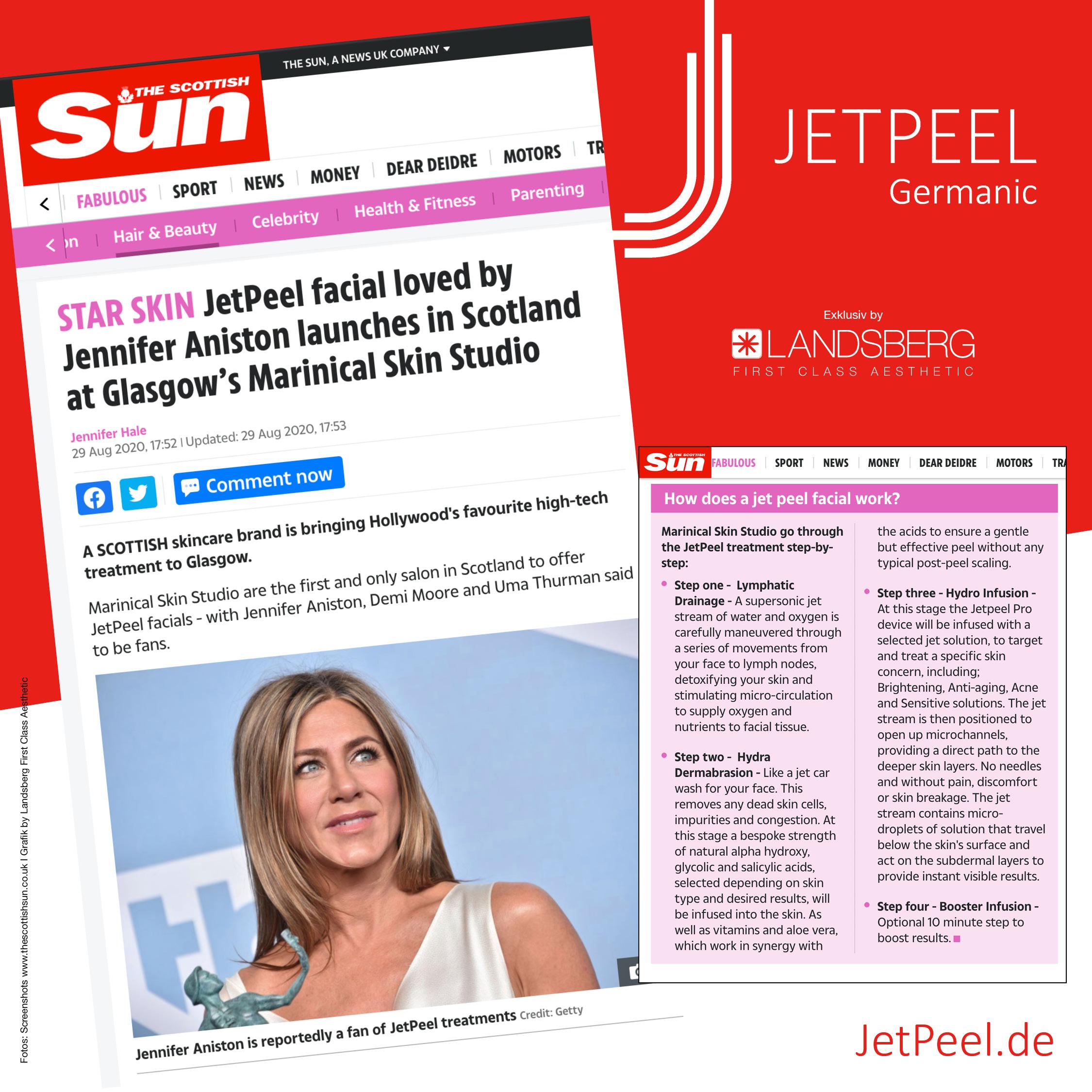 """JetPeel™ in """"The Scottish Sun"""" – Erstes Institut in Schottland & Jennifer Aniston"""