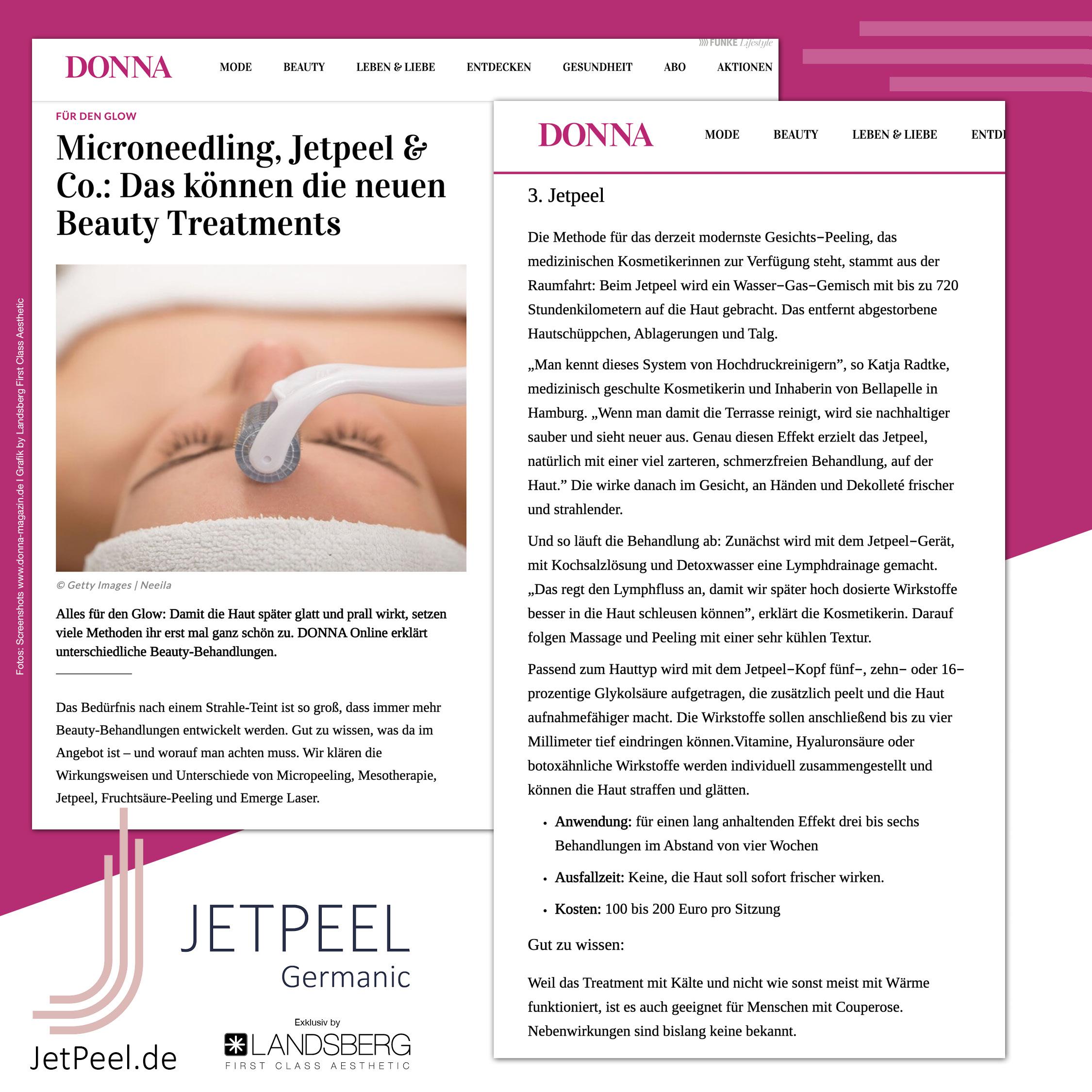 JetPeel™ – Die Methode für das derzeit modernste Gesichts‐Peeling (Donna Magazin)